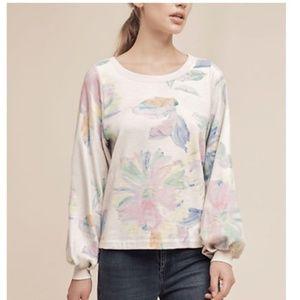 Anthropologie Reveries Floral Ivory Sweatshirt NEW